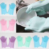 guantes para la cocina al por mayor-Guantes de silicona con cepillo Guantes de silicona reutilizables de seguridad Guantes de lavado Guantes resistentes al calor Herramienta de limpieza de cocina HHAA614
