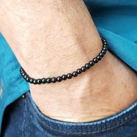 natürliche turmalinperlen schwarz großhandel-4mm schwarz Turmalin Armband Naturstein Perlen Armband Mini Stein Energie Männer Frauen Heilung Chakra Yoga
