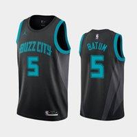 kit diy china venda por atacado-homens CharlotteHornets Nicolas Batum # 5 2019-20 City Classic basquete Declaração Jersey