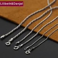 collar de tejido de plata al por mayor-1mm y 2mm Grueso Nombre inicial Collar 100% 925 Cadena de cuerda de tejido de plata esterlina Modelos salvajes Collar Colgante Joyería 2019 N19