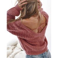 ddfb08819 Sexy Deep V Womens Sweaters Loose Solid Color Knitted Tops Ladies Winter  Backless Hot Clothing Streetwear Pullover Sweaters