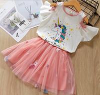 bebek etek tasarımları toptan satış-Bebek Kız giyim iki parçalı setleri Yaz Unicorn Tasarım Ruffles Kısa Kollu T gömlek + Nakış Unicorn Etek Kız Zarif Parti elbise set