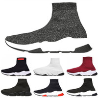 Wholesale cotton football socks online - Top fashion Speed Trainer Luxury Brand Shoes red grey black white Flat Classic Socks Boots Sneakers Women Trainers Runner size