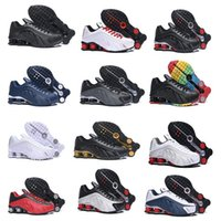 Wholesale leather man harnesses resale online - Shox R4 Triple Black newest shox Mens Running Shoes Zapatillas Hombre R4 Breathable leather Trainers chaussure homme Athletic Sneakers