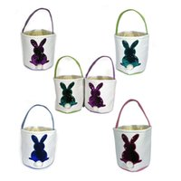 Wholesale christmas gift baskets for sale - Group buy Easter Basket Sequins Rabbit Bucket Sequined Glitter Handbags Easter Bunny Totes DIY Canvas Kids Candy Egg Gift Basket Storage Bags A122102