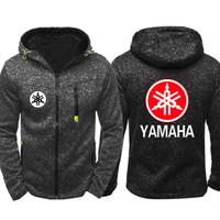yamaha road al por mayor-Primavera otoño costa oeste motocicleta off-road para YAMAHA con cremallera con capucha hombres sudadera Cardigan chaqueta de abrigo para hombre Hip Hop con capucha chándales