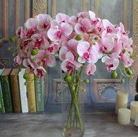 mode für zu hause künstliche blume groihandel-Weißer künstliche Schmetterling Orchid Silk Blumenstrauß Phalaenopsis Hochzeit Home Decor Fashion DIY Wohnzimmer-Kunst-Dekoration