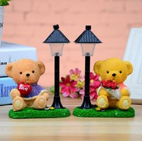 ingrosso erba della lampada-Pastoral grass street lamp bear night light Resina artigianato creativo decorazione della casa studente regalo all'ingrosso creativo
