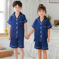 Wholesale kids clothes boy pajama for sale - Group buy Retail Children Silk Pajamas Summer Pajamas For Girls Kids Pyjamas Softy Boys Sleepwear Baby Clothing Kids Pajama Set