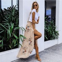 ingrosso il pavimento di tailing-New Summer Hot Women Stretch High Tail Floral Long Rock Maxi Plissee Beach Casual Boho Poliestere Floor -length Rock