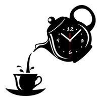 ingrosso decorazione della parete del caffè della cucina-Botique-Creative Fai da te Acrilico Tazza di caffè Teiera 3D Orologio da parete Decorativo Orologi da parete da cucina Soggiorno Sala da pranzo Home Decor