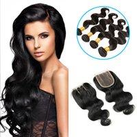 insan saçı örgü renk siyah toptan satış-10A Brezilyalı Virgin Saç Vücut Dalga Paketler Doğal Siyah Renk% 100 İnsan Saç Dokuma uzun kıvırcık saçı düz değil düğümlenmiş olduğu