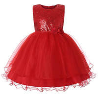 Wholesale yellow cotton flower girl dresses resale online - Girls Solid Color Dress Round Neck Sleeveless Flower Mesh Sequined Party Dress Girls Princess Lace Designer Dress