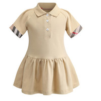 niño crema verano al por mayor-2019 primavera y verano nuevas niñas solapa POLO camisa de algodón de manga corta princesa vestido de la marca crema ropa de niños