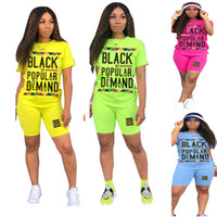 Black By Popular Demand Summer Shorts Set Woman Clothing 2 Piece Outfits t shirt + Shorts Casual Tracksuit Fashion Street Suit C72202