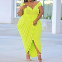 vestidos verdes lisos al por mayor-Summer Sexy Green Club Plus Size Party Mujeres Vestidos largos Cintura alta Llanura plisada Asimétrica Moda femenina Maxi Chic Dress
