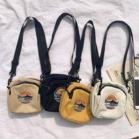 Wholesale casual sling bag for women resale online - Women Canvas Handbags Korean Mini Student Sling Bag Phone Purses Simple Small Crossbody Bags For Casual Ladies Flap Shoulder