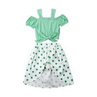 pantalones cortos verdes trajes de niño al por mayor-Verano fuera del hombro 2 unids Set niños pequeños bebés niñas arco verde Tops + puntos Shorts faldas trajes ropa 1-6Y