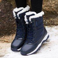çizme astarı toptan satış-Sıcak Satış-Kadın Deri Kar Botları ile Kürk Astarlı Bayan Su Geçirmez ve Kaymaz Kışlık Botlar Kış Açık Sıcak Yürüyüş Boot
