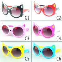 Wholesale cat ears sunglasses resale online - Children Cat Ear Sunglasses Baby Boy Girl UV400 Protection Eyewear Outdoor Sports Beach Travel Cartoon Sunglasses