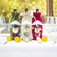 sacos de garrafa de vinho venda por atacado-Decorações de Natal para Casa de presente de Natal Bolsas Elk Red Wine Bottle Set Party Supplies Sacks Navidad Decor Ano Novo