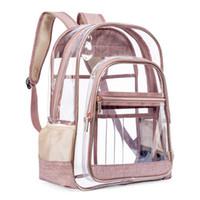 ingrosso zaino nero chiaro-1995 Trasparente trasparente zaino per scuola oro rosa Elegante nero adolescente ragazze moda Fashion Bookbag