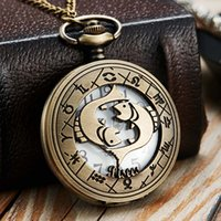 Wholesale pisces silver necklace resale online - 12 Constellation Pocket Watch Men Women Zodiac Fob Watches Pisces Leo Scorpio Gemini Taurus Animal Laser Engraved Necklace Clock