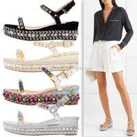 yürüyüş sandaletleri toptan satış-Şık Çiviler Kırmızı Alt Ayak bileği Askı Kadın Ayakkabı Walking Kadınlar Lady Yüksek Topuklar Lüks Designer Pyraclou takozlar Sandalet