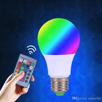 ingrosso lampada a distanza intelligente per la casa-Lampadina DHL E27 RGB LED 3W 5W LED lampade spot intelligente lampadina LED RGB lampadine 24Key IR telecomando della decorazione della casa natale