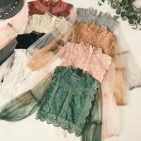 Wholesale cute green top resale online - Womens Tops Blouse Women Arrival New Ladies Mesh Lace Hook Flower Lantern Sleeve Loose Pullover Blouse Shirts Women Fashion Cute Suits