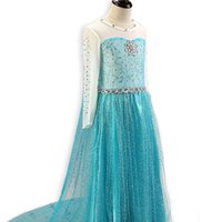 Wholesale halloween costumes for girl child resale online - Blue Princess Dress For Baby Girl Costume Dress For Children Movie Cosplay Snowflake Rhinestone Mesh Dress Long For Christmas Party HH7