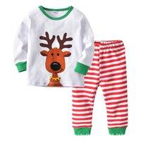 pp unterwäsche großhandel-Neue Art 2019 Weihnachten Babypyjamas setzt Karikatur-Kind-Pyjamas Boy Pyjamas Mädchen Nachtwäsche Baby Unterwäsche Langarm-Tops + PP Hosen A8589