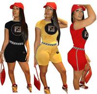 ingrosso blazer clothing for women-T-shirt da donna di marca, abiti estivi, paillettes, lettera F, stampa tuta, pantaloncini, 2 pezzi, abiti estivi, abbigliamento sportivo da donna