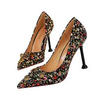 zapatos de boda rhinestone al por mayor-Rhinestone retro zapatos de vestir de mujer tacones de las mujeres tacones altos Festival Fiesta Zapatos de boda Stiletto bombas formales Zapatos de negocios GWS628