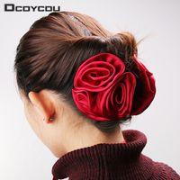корейская лента лука оптовых-1PC Korean Beauty Ribbon Rose Flower Bow Jaw Clip Barrette Hair for Women Headwear Hair Accessories