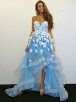 sweetheart asymmetrical organza vestidos de baile venda por atacado-Chique Azul Querida Alta Baixa Vestidos de Baile Apliques de Renda A Linha de Vestido de Noite Assimétrica Beach Prom Party Gown