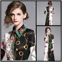 красивые вечерние платья для дам оптовых-Дизайнерская Женская красивая Street Style Printed Maxi платье Элегантный кнопки на передней нагрудные шеи Lady Sexy Тонкий Runway партии Вечерние платья