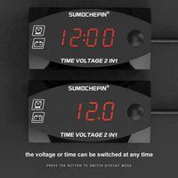 24V num/érique Auto Voiture Thermom/ètre /écran LCD Horloge Hot Vente Voiture 3 en 1 12V Voiture Voltm/ètre Tension Testeur Moniteur