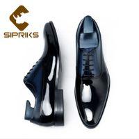 ingrosso scarpe marrone vestito blu-Sipriks Luxury Brand Mens Shiny Dress Oxfords Scarpe da uomo in pelle verniciata nera Scarpe da uomo marrone scuro
