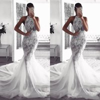Wholesale church dresses resale online - 2019 Halter African Wedding Dress Glamorous Mermaid Lace Appliques Bodice Long Garden Country Church Bride Bridal Gown Custom Made Plus Size
