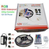 led bande rgb paquet achat en gros de-Led Bande Lumière RGB 5M 5050 SMD 300Led Contrôleur IP65 + 44Key Imperméable + Alimentation 5A Avec Paquet Au Détail Cadeaux De Noël