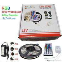 tira llevada paquete rgb al por mayor-Luz de tira llevada RGB 5M 5050 SMD 300Led IP65 + 44Key Controller + 5A fuente de alimentación con paquete al por menor Regalos de Navidad