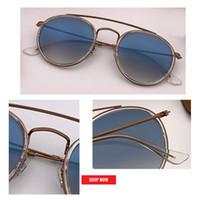 lentes de sol con lentes redondos al por mayor-nuevo 2019 SteamPunk Vintage Round Metal Style doble puente Gafas de sol Uv400 vidrio Lente de flash Gafas de sol Gafas de sol 3647 2780