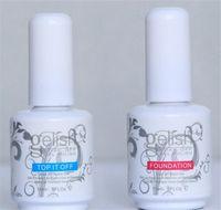 gel uv esmalte de uñas 15ml al por mayor-Esmalte de uñas Gelish de calidad superior Soak Off Nail Gel 15ML Para Art Lacquer UV LED Harmony Base de base Base Coat + Rematar 1Lot = 2Pcs Drop