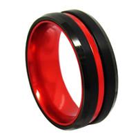 кольцо из алюминиевого сплава оптовых-8 мм черный Вольфрам кольцо с красным алюминиевого сплава инкрустация для мужчин fasshion ювелирные изделия кольцо