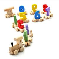 Wholesale train toys for boys resale online - For Baby Kids Assemble Toys Novelty Number Wood Train Figure Railway Toy Smooth Child Intelligence Development Model Durable yl BB