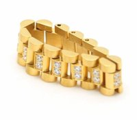 coronas de strass para hombre al por mayor-24 K chapado en oro corona de acero inoxidable Golden Ice Out Lab Rhinestone anillo Hiphop para hombre correa de reloj estilo Presidente hombres banda anillo K6012