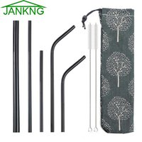 Wholesale jankng resale online - JANKNG Colorful Metal Straw Stainless Steel Straw Eco Friendly Reusable Drinking Straws Set with Brush Bag