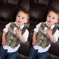avcılar yaylar toptan satış-2019 Mütevazı Kamuflaj çocuğun Resmi Giyim Küçük Boy Hunter Slim Fit erkek Takım Elbise Yelek (Yelek + Yay) Ülke Düğün Yelek Elbise Terzi Yapımı