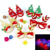 kinder papier gläser großhandel-Kid Christmas Brille LED Weihnachtsmann Papier Brille Weihnachten Schneemann Baby Vliesstoff Brille für Weihnachtsfeier Geschenke